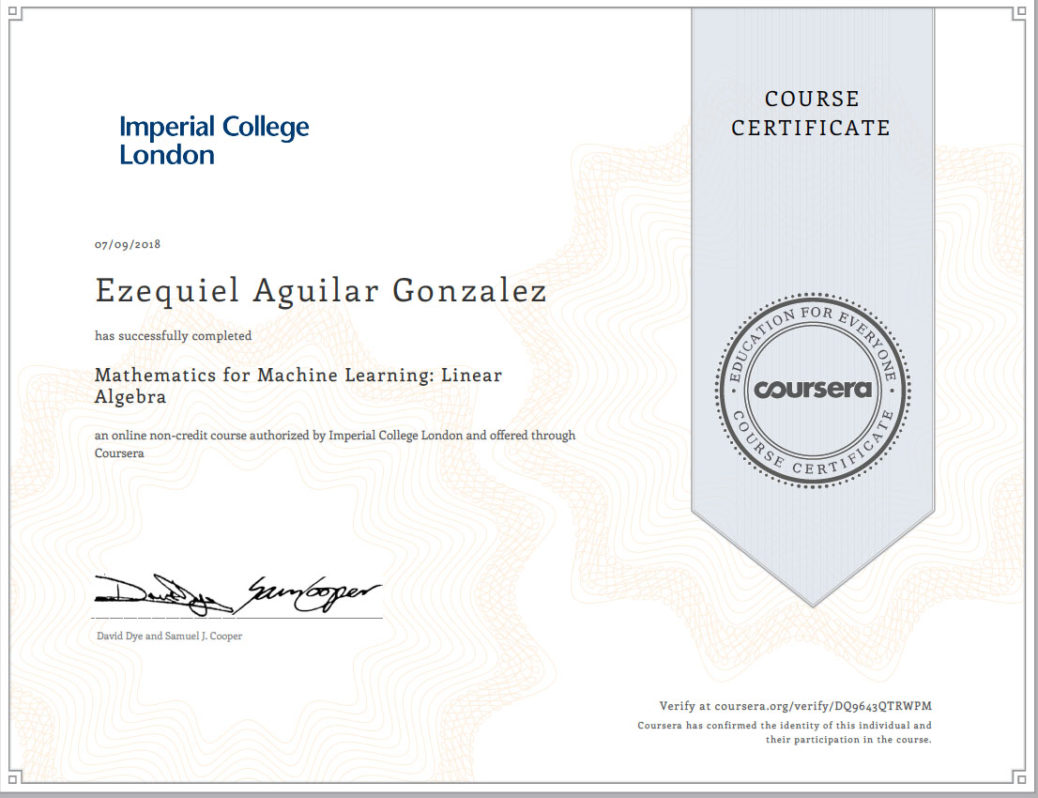 Imperial College Mathematics For Machine Learning Linear Algebra