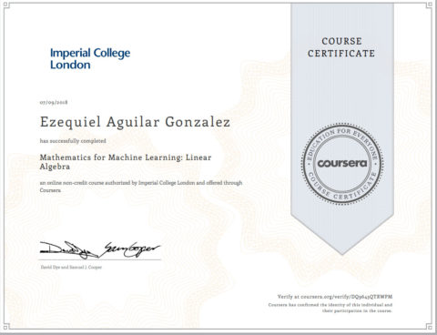 Imperial College – Mathematics for Machine Learning – Linear Algebra