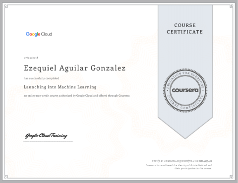 Google Cloud – Launching Into Machine Learning