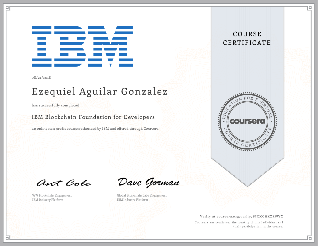 Ibm Blockchain Foundation For Developers Ezequiel Aguilar Gonzalez